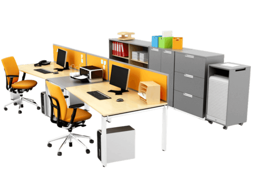 Yellow modern desk and chair set