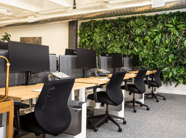 Work desk with attractive green decorative on wall