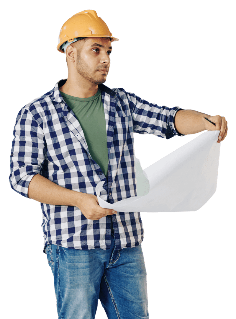 Man inspecting design with layout in hand